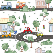 Seamless Pattern With Cute Car...