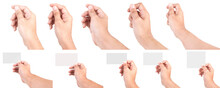 Multiple Of Male Caucasian Hand Gestures Isolated Over The White Background. HAND HOLDING CARD.