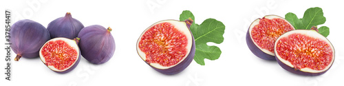 Fototapeta Fresh fig fruit with leaves isolated on white background. Set or collection obraz