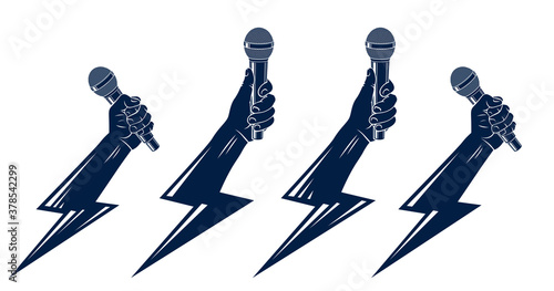 Fototapeta Rap music vector logos or emblems set with microphone in hand lightning bolt, hot Hip Hop rhymes festival concert or night club party labels, t-shirt prints. obraz