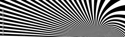 Fotografie, Obraz Op art distorted perspective black and white lines in 3D motion abstract vector background, optical illusion insane linear pattern, artistic psychedelic illustration