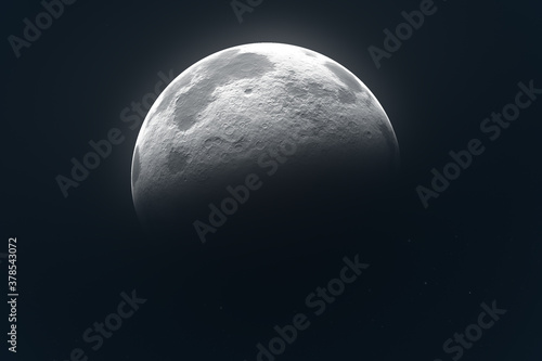 render full and phases moon with black background Wallpaper Mural