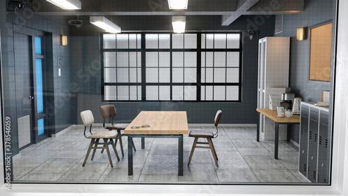 Fototapeta Large modern interrogation room 3d illustration