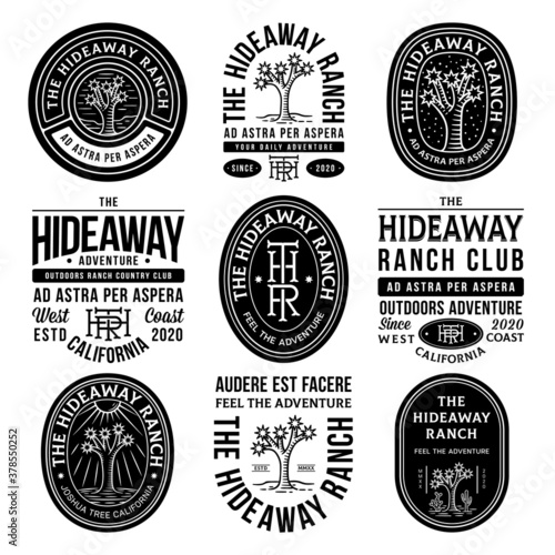 Black hideaway ranch adventure vector badges on a white background Canvas Print