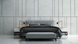 Leinwanddruck Bild - The minimal mock up cozy bedroom interior design and concrete wall pattern background