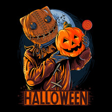 Halloween Sack Masked Man Carrying Pumpkin And Candy