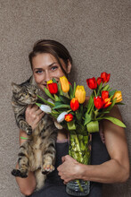 Russian Girl With A Cat And A ...