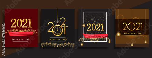 Fototapeta Happy New Year 2021 invitation card with glitter isolated on black background, text design gold colored, vector sets for calendar and greeting card. obraz