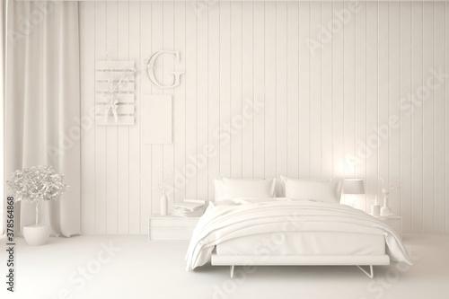 Modern bedroom in white color Canvas
