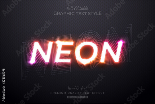 Obraz Neon Gradient Editable Custom Text Style Effect Premium - fototapety do salonu