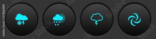 Fototapeta Set Cloud with snow and lightning, Cloudy rain sun, Storm and Tornado icon