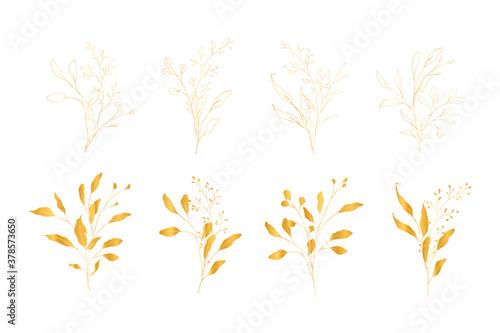 Fototapeta Set of golden vector floral design elements. Decoration elements for invitation, wedding cards, valentines day, greeting cards. Isolated. obraz