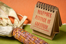 November Attitude Of Gratitude - Inspirational Note In A Spiral Sketchbook With Decorative, Ornamental Corn, Thanksgiving Theme