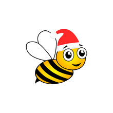 Cartoon Happy Festive Bee Mascot Character Illustration. Cute Bee With Santa Hat Vector Isolated On White. Merry Christmas Concept.
