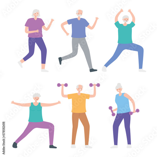 Foto activity seniors, group elderly people practicing exercises