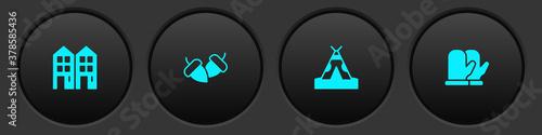 Set House, Acorn, Indian teepee wigwam and Christmas mitten icon Fotobehang