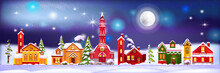 Christmas Winter Houses Illustration With Night Village In Snow Drifts, Pine Trees, Moon. Holiday X-mas Season Background With Little Decorated Town, Stars. Winter Houses Facade With Garland, Lights