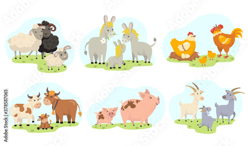 Cute farm animals family flat illustration set Wallpaper Mural