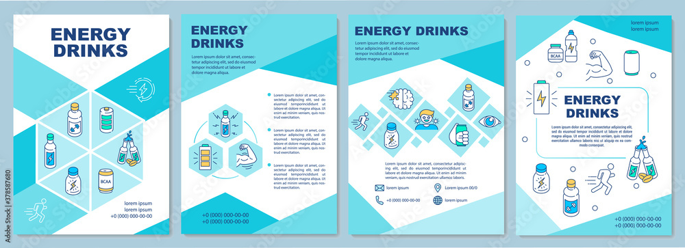Fototapeta Influence energy drinks brochure template. Caffeine effect. Flyer, booklet, leaflet print, cover design with linear icons. Vector layouts for magazines, annual reports, advertising posters