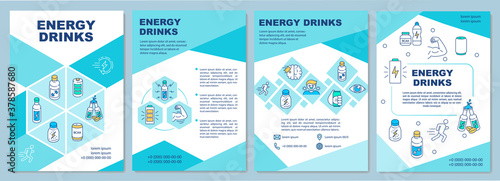 Obraz Influence energy drinks brochure template. Caffeine effect. Flyer, booklet, leaflet print, cover design with linear icons. Vector layouts for magazines, annual reports, advertising posters - fototapety do salonu