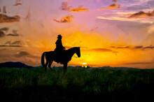 Oil Painting Of Cowboy At Dawn