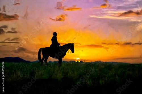 Fotografie, Obraz Oil painting of Cowboy at dawn