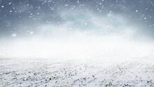 Snowfall In The Field. Field W...