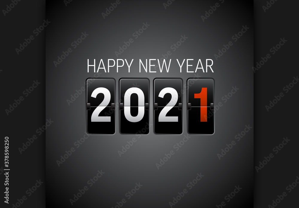Fototapeta Happy New Year 2021 Card with Flip Letters