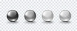 Glass ball set isolated on transparent background. Black, gray and translucent orbs,  3d spheres. Vector bubbles or round buttons with shadows