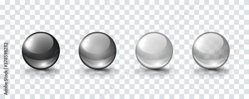 Fényképezés Glass ball set isolated on transparent background