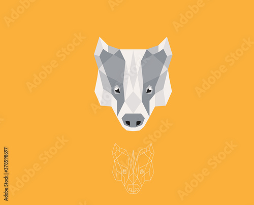 Vector badger head, badger logo, in Low poly style Poster Mural XXL