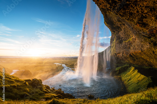 Seljalandfoss waterfall in sunset time, Iceland