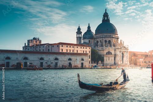 Gondola and Basilica Santa Maria della Salute, Venice, Italy Canvas Print