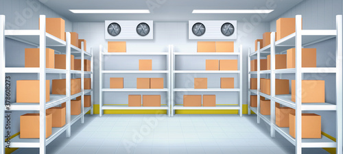Fototapeta Warehouse interior with boxes on racks, ventilation and illumination. Logistics, cargo, parcel storage postal service. Inner view of storehouse with goods on shelves. Realistic 3d vector illustration obraz