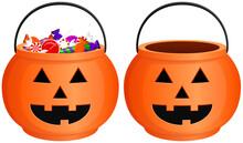 Vector Illustration Of A Jack-o'-lantern Style, Orange Halloween Candy Bucket, Both Full And Empty.