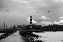 View Of A 19th Century Black And White Lighthouse Built On Rock Pier With Seagulls Flying Around It