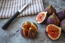 A Few Figs Freely Lying On Old...