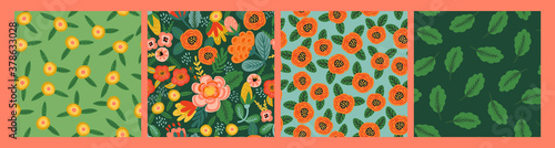 Fototapeta Set of Folk floral seamless patterns. Modern abstract design obraz