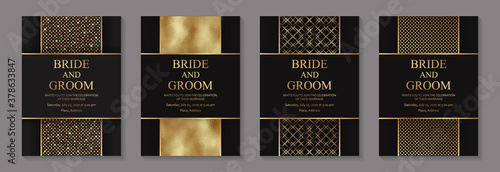 Obraz Modern geometric luxury wedding invitation design or card templates for birthday greeting or certificate or poster with golden glittering stripes on a black background. - fototapety do salonu