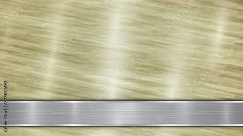 Obraz Background consisting of a golden shiny metallic surface and one horizontal polished silver plate located below, with a metal texture, glares and burnished edges - fototapety do salonu