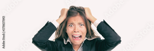 Funny crazy Asian business woman screaming in panic over stress at work Fototapet
