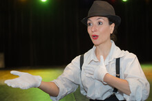 Portrait Of Female Mime Artist Acting