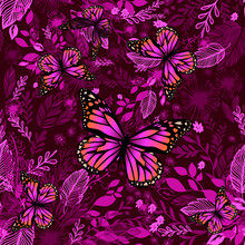 Burgundy Purple Floral Background With Butterflies. Beautiful Background Print For Fabric. Vector Illustration