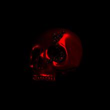 Human Scull 3d Rendering. Black Death's-head On Black Background.  Scary Halloween Dead Skeleton Head Symbol