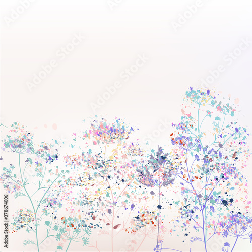 Fototapeta Beautiful abstract vector floral illustration with plants and paint spots obraz