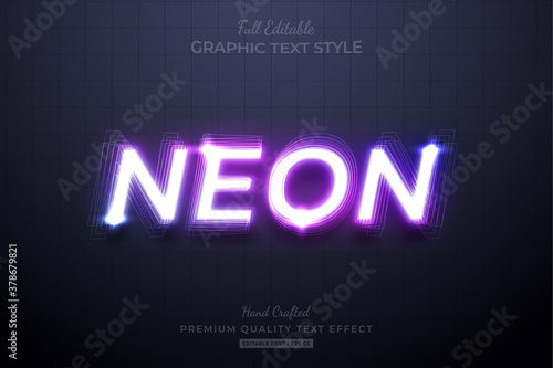 Obraz Neon Purple Editable Eps Text Style Effect Premium - fototapety do salonu