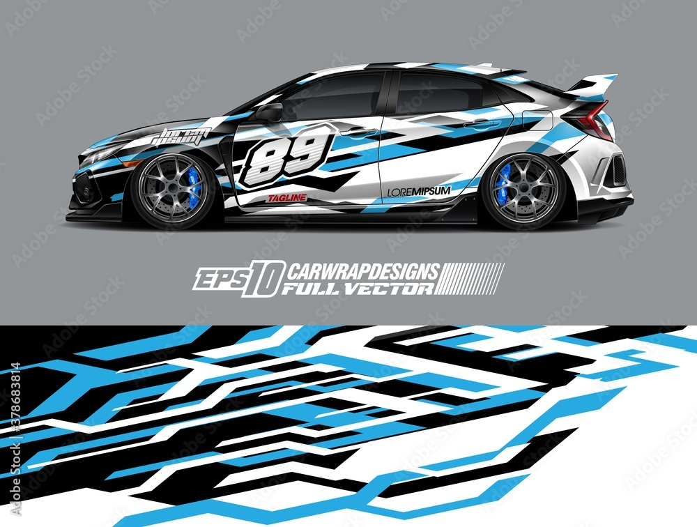 Fototapeta Cargo van wrap decal graphic design. Abstract stripe racing background designs for wrap race car, pickup truck, adventure vehicle. Eps 10