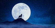 A Howling Wolf Under The Moonl...