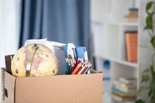 Carton boxes full of personal belongings taken away when leaving the job Wallpaper Mural