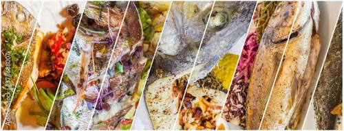 Assemblage de poissons cuisinés entiers Fototapeta